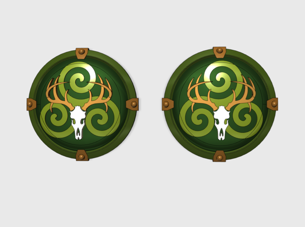 Wild Hunt - Round Power Shields (L&R) in Smooth Fine Detail Plastic: Small