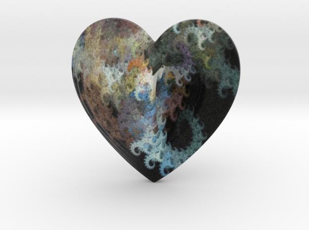Fractal Heart Bauble 1 in Full Color Sandstone