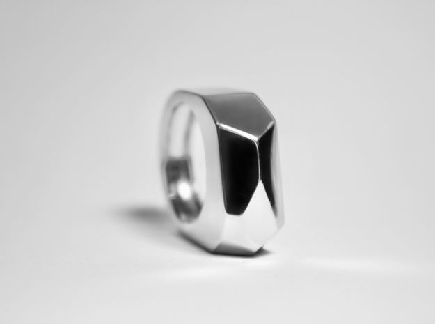 Silver Ring: 925 silver – geometric, contemporary in Fine Detail Polished Silver: 8 / 56.75