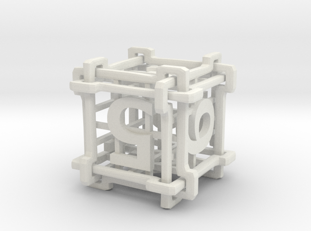 Interlocked Die in White Natural Versatile Plastic