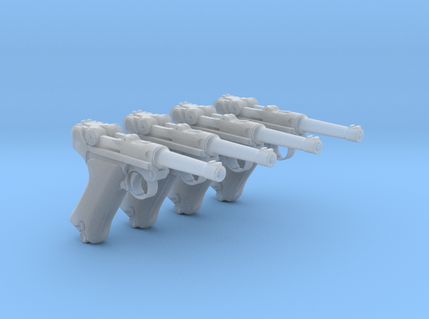 1/18 Scale Luger 4 Pack in Smooth Fine Detail Plastic