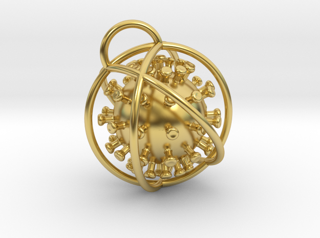 Coronavirus Pendant amulet in Polished Brass (Interlocking Parts)