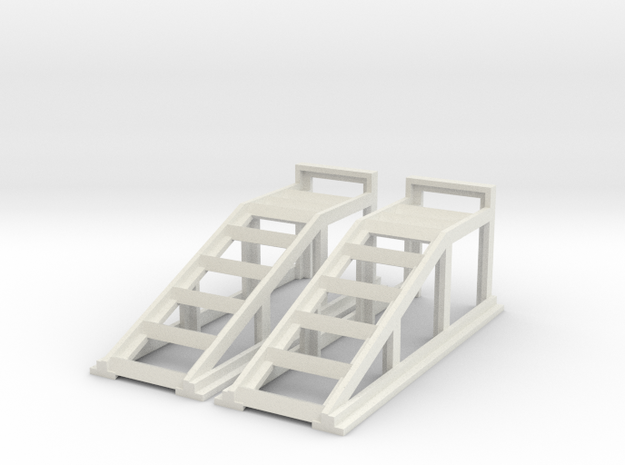 RC Garage 4WD Truck Car Ramps 1:10 Scale in White Natural Versatile Plastic