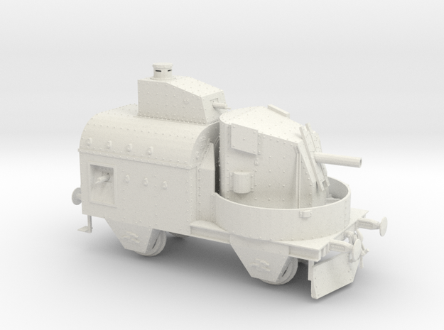 1/35th scale Armoured traincar, gun carriage in White Natural Versatile Plastic
