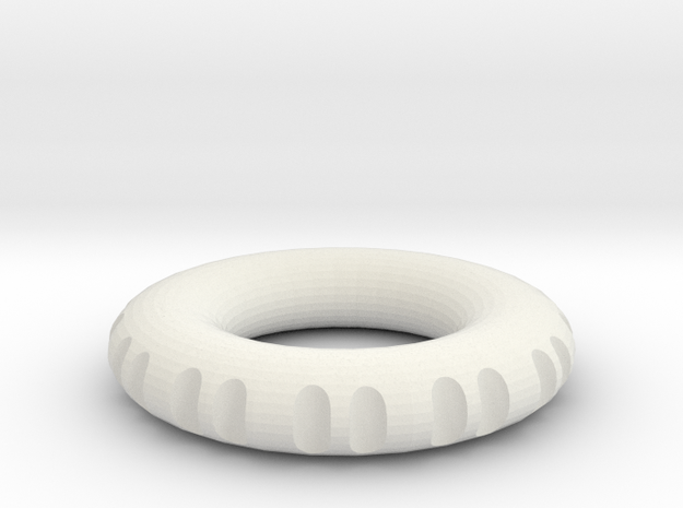 double edge rodin coil frame  50 x 50 x 9.5 mm  in White Natural Versatile Plastic