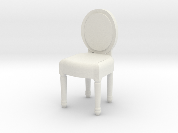 Miniature 1:48 French Balloon Chair in White Natural Versatile Plastic