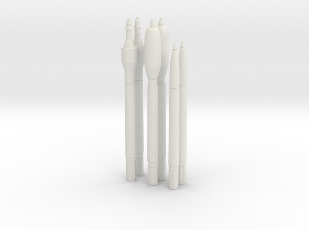 1:6 Miniature R4M Missiles - Normal in White Natural Versatile Plastic