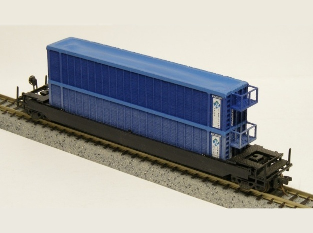 Trash Gondola Double Stack 48foot - Nscale in Smooth Fine Detail Plastic