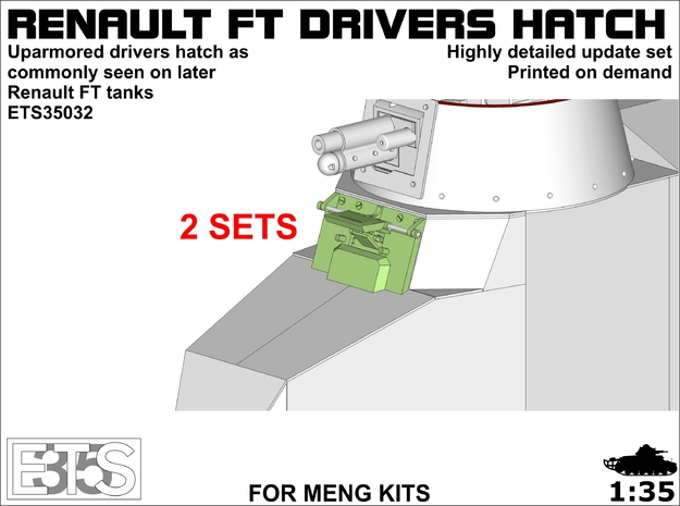 ETS35032- FT late drivers hatch 2x  in Smooth Fine Detail Plastic