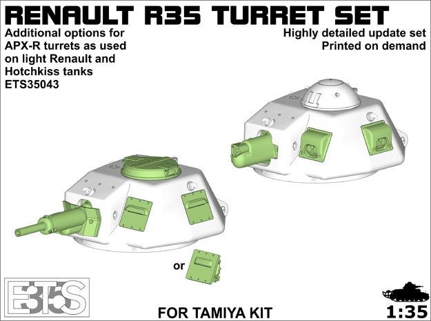 ETS35043 - R35 gun and turret update set in Smooth Fine Detail Plastic