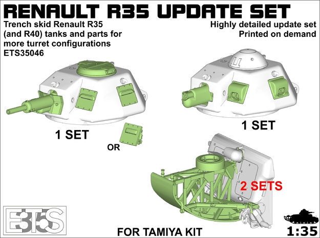 ETS35046 - R35 Turret Options &Trench Skid (2x) in Smooth Fine Detail Plastic