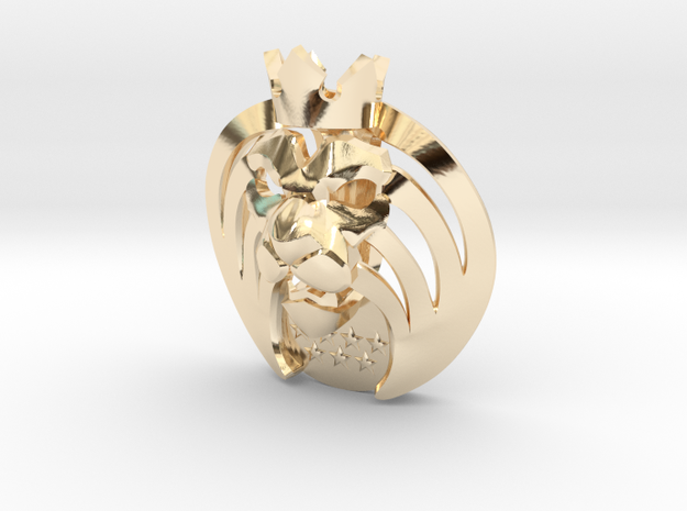 Mad_Lions Pendant in 14k Gold Plated Brass