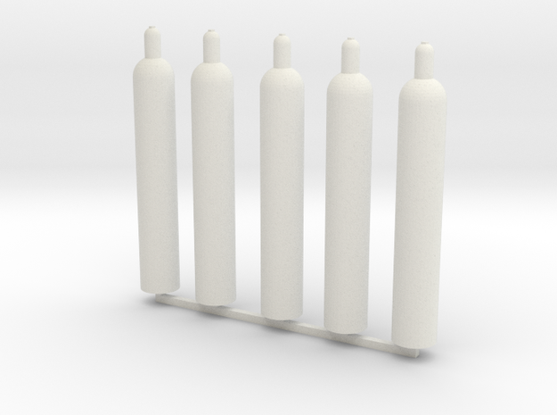 1:16 gas bottle 5x technische Gase in White Natural Versatile Plastic
