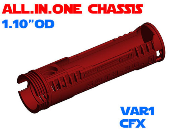 """ALL.IN.ONE - 1.10""""OD - CFX chassis Var1 in White Natural Versatile Plastic"""