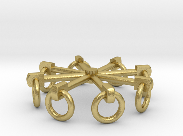 7W001 Tie Town Rings - Hanging Down 7mm Scale in Natural Brass