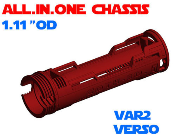 """ALL.IN.ONE - 1.11""""OD - Verso chassis Var2 in White Natural Versatile Plastic"""