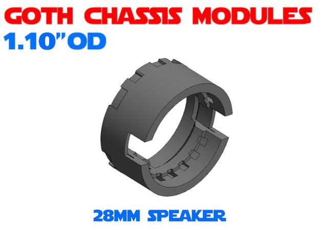 GCM110-03-03 - 28mm Bass speaker holder in White Natural Versatile Plastic