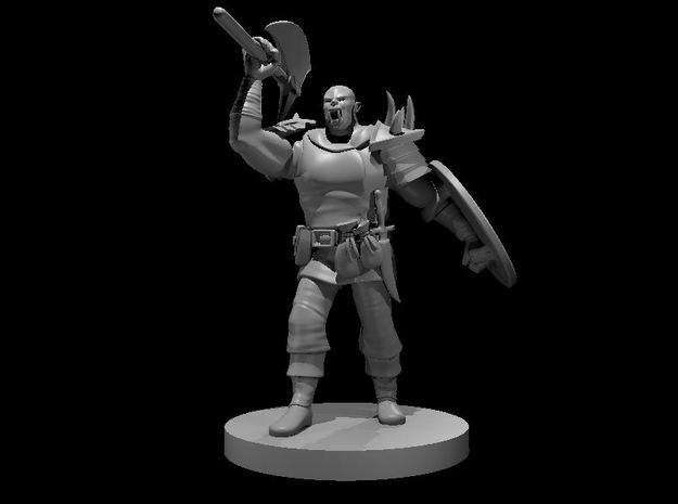 Half Orc Barbarian with Battle Axe & Shield in Smooth Fine Detail Plastic