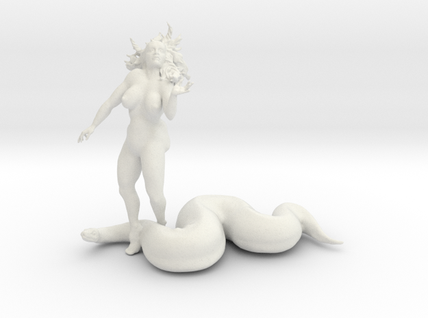 Eve And The Snake  in White Natural Versatile Plastic