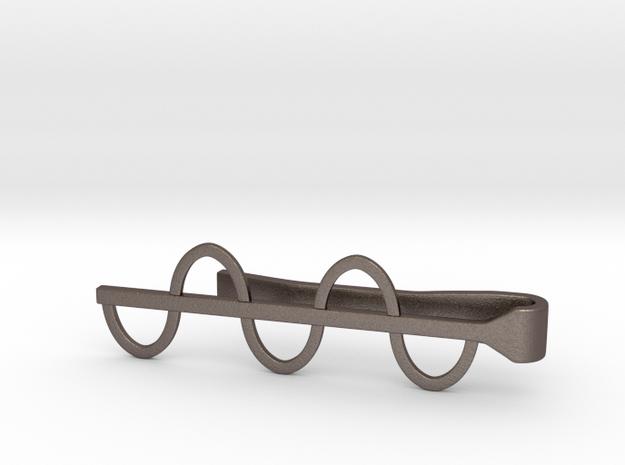Sine Wave Tie Bar (Metals) in Polished Bronzed Silver Steel