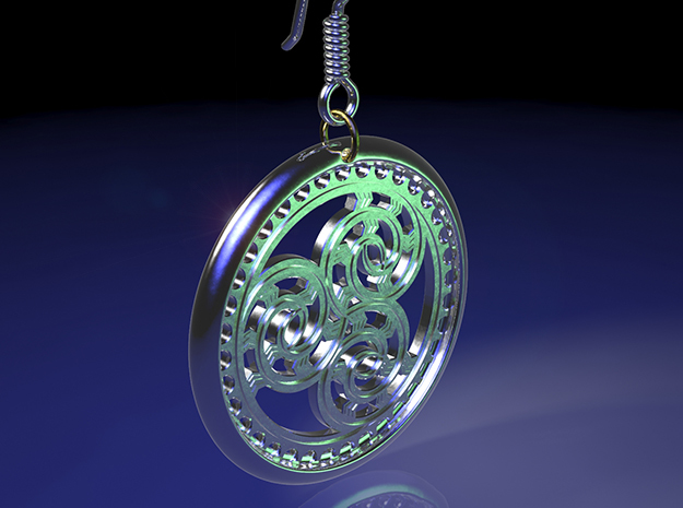 Hangarite Earring version two ~30mm diameter in Fine Detail Polished Silver