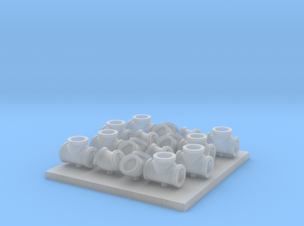 3 Inch Pipe Fittings F Scale in Smooth Fine Detail Plastic