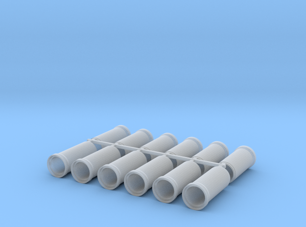 """'N Scale' - (12) 30"""" Concrete Pipe - Straight in Smooth Fine Detail Plastic"""