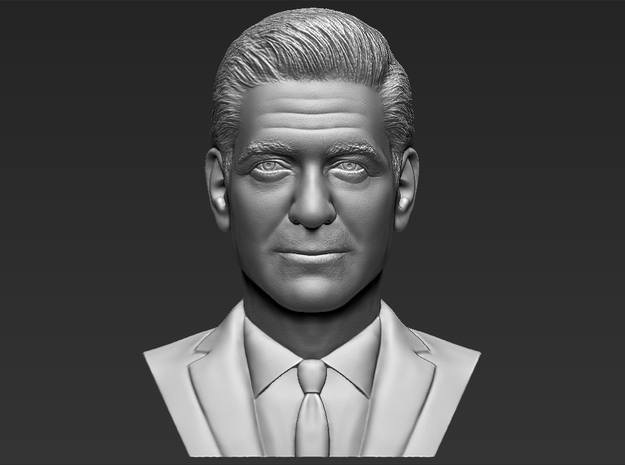 George Clooney bust in White Natural Versatile Plastic