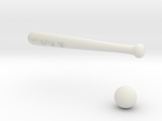 Baseball bat & ball in White Natural Versatile Plastic
