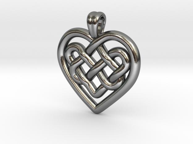 Heart in heart [pendant] in Polished Silver