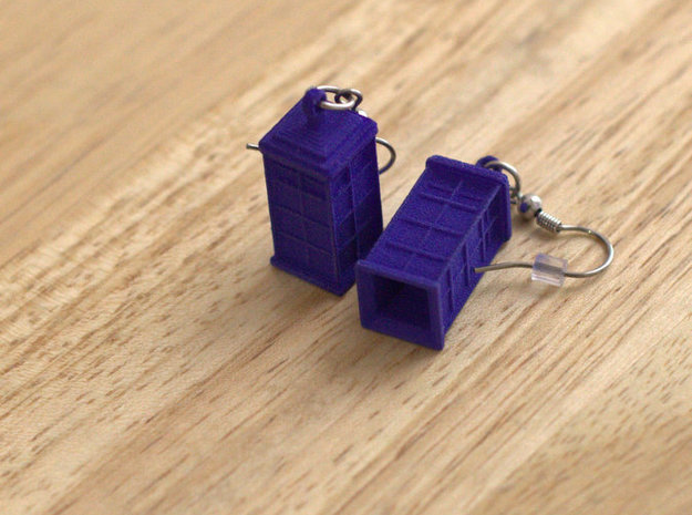 T.A.R.D.I.S. earrings 3d printed (hooks not included)