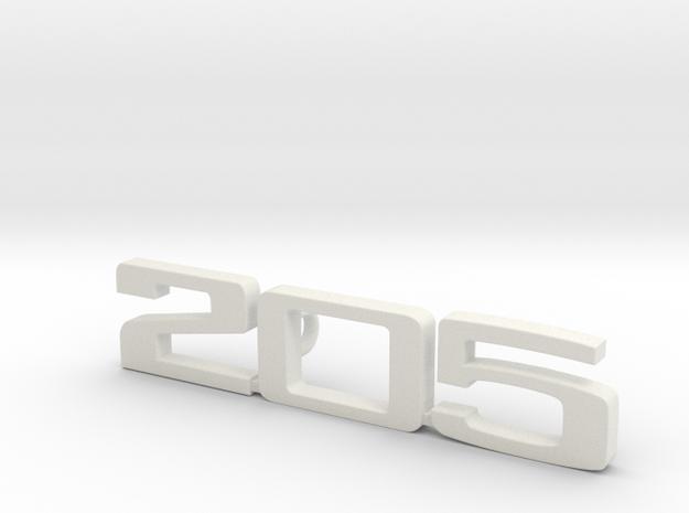 keychain peugeot 205 in White Natural Versatile Plastic