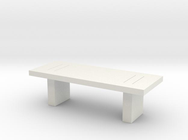 Modern Miniature 1:48 Coffee Table in White Natural Versatile Plastic: 1:48 - O