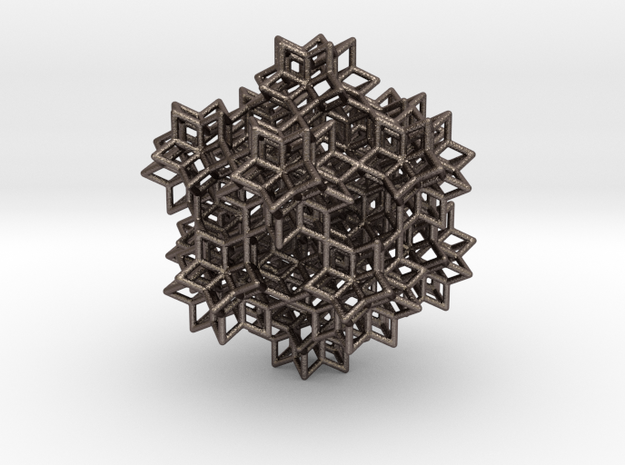 rhombic hexecontahedra -21 in Polished Bronzed-Silver Steel