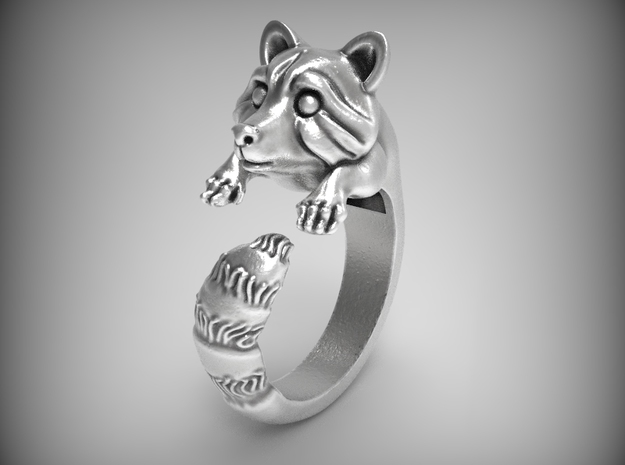 """""""Fluffy Tail"""" Racoon ring size 6.5 in Natural Silver"""