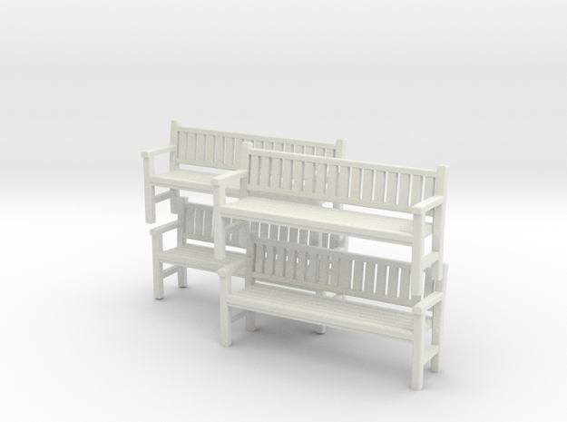 Park Bench x 4 - 4mm Scale in White Natural Versatile Plastic