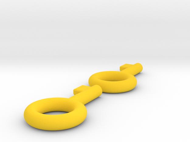 lock-puzzle-keys in Yellow Processed Versatile Plastic