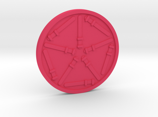 Ten of Wands Coin in Pink Processed Versatile Plastic