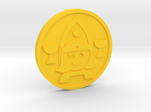 Queen of Cups Coin in Yellow Processed Versatile Plastic