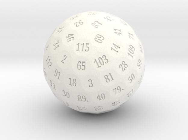 "d115 Sphere Dice ""Kinflore"" in White Processed Versatile Plastic"