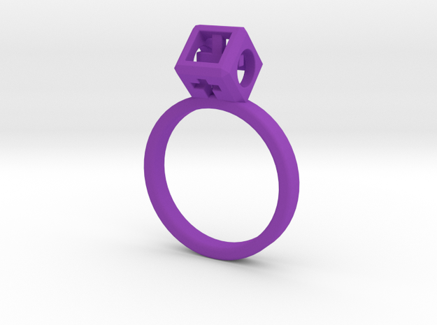 "JEWELRY Ring size 9 (19 mm) with HyperCube ""stone"" 3d printed"