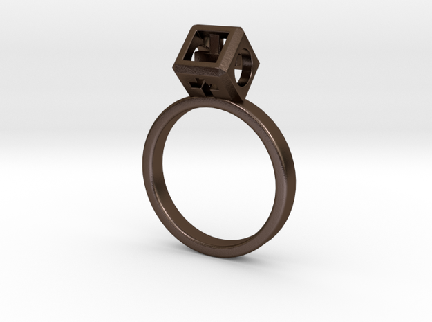 """JEWELRY Ring size 9 (19 mm) with HyperCube """"stone"""" in Polished Bronze Steel"""