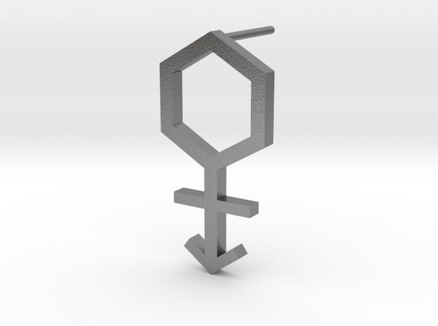 Lawal gmtrx c60 hexagon cross symbol 1 in Natural Silver