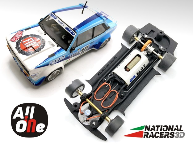 Chassis SCX/Scalextric Fiat 131 Abarth (In-AiO) in Black PA12
