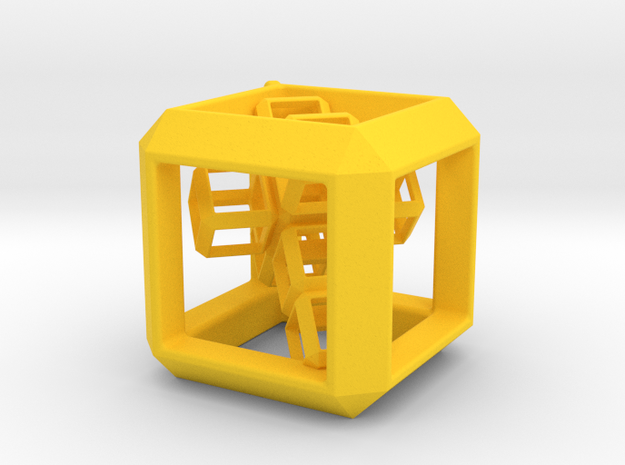 JEWELRY Cube Pendant (30 mm) with 3d-Cross inside in Yellow Processed Versatile Plastic