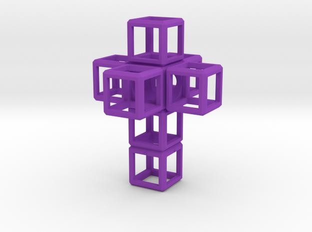 SCULPTURE Cross 48 mm fits the HyperCube in Purple Processed Versatile Plastic