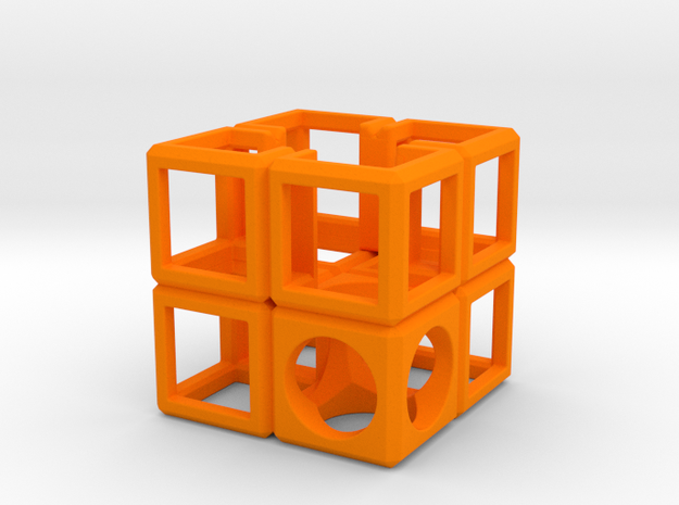 SCULPTURE Cube-Base for 48mm 3d-Cross in Orange Processed Versatile Plastic