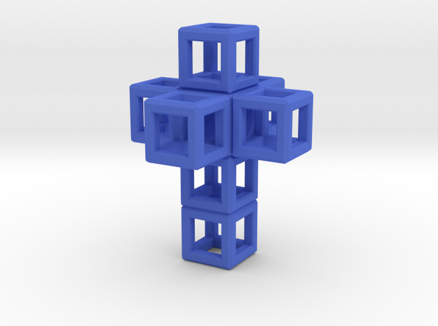 SCULPTURE: Cross 33 mm fits in Small HyperCube in Blue Processed Versatile Plastic