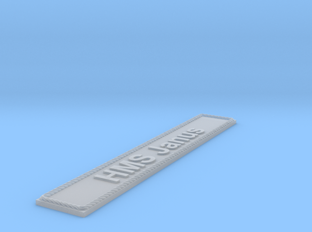 Nameplate HMS Janus in Smoothest Fine Detail Plastic