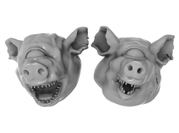 28mm Cyclops / Giant / Mutant / Demon Pig Heads in Smoothest Fine Detail Plastic